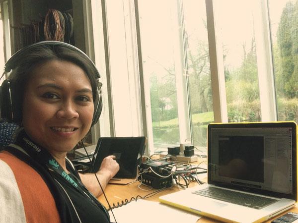 Sharliza making music at Real World Studios
